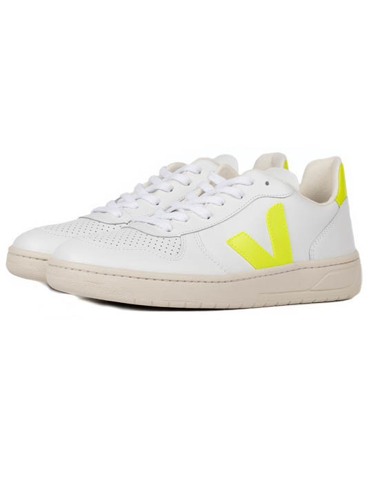 V-10 LEATHER EXTRA WHITE JAUNE FLUO