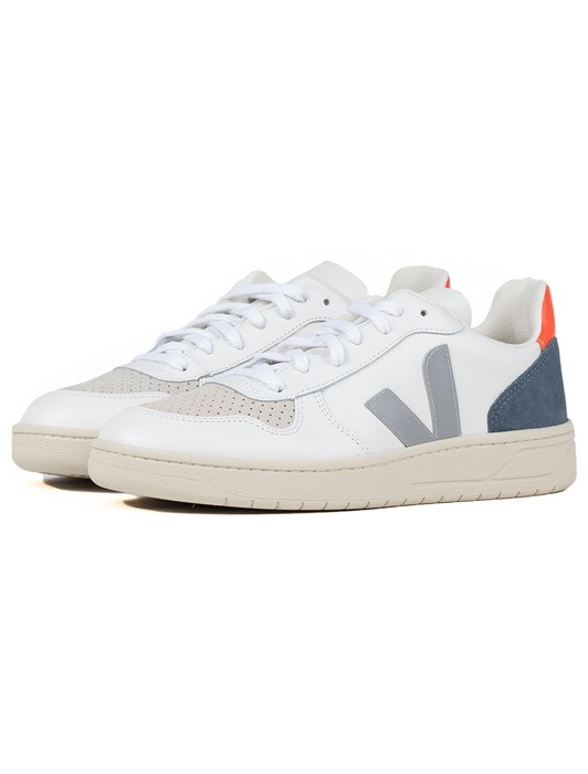 V10 LEATHER EXTRA WHITE OXFORD GREY ORANGE FLUO