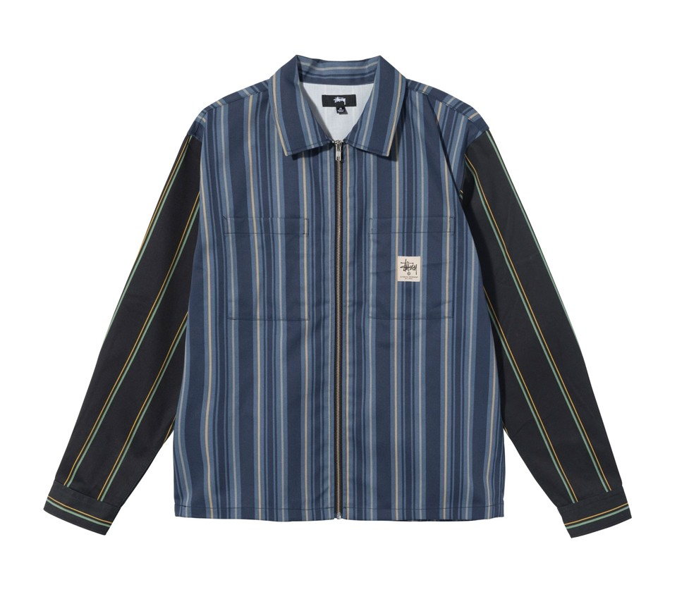 MIX STRIPE ZIP UP WORK SHIRT